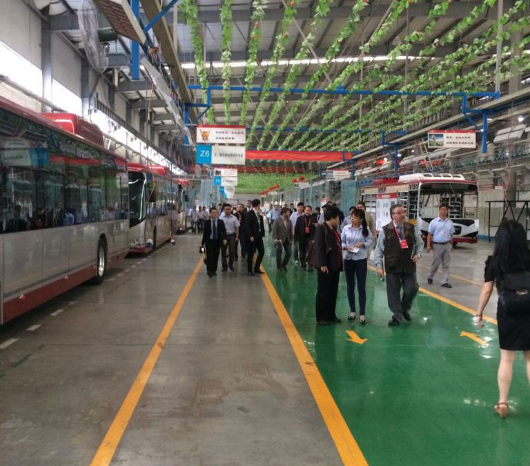 Visiting electric bus factory in Hunan, China