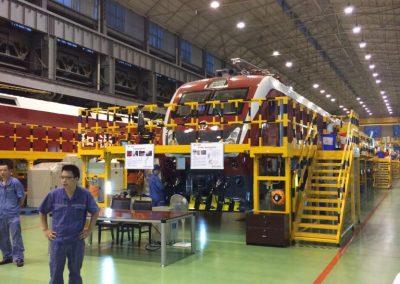 Gustavo Eglez visitando línea producción fábrica CSR en Hunan China